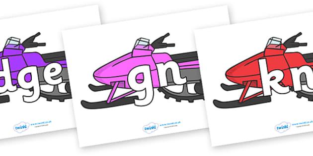 Silent Letters on Snowmobiles - Silent Letters, silent letter, letter blend, consonant, consonants, digraph, trigraph, A-Z letters, literacy, alphabet, letters, alternative sounds