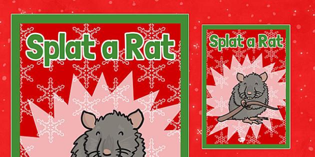 Christmas Themed Splat a Rat Poster - christmas fair, display poster, display, poster, splat a rat