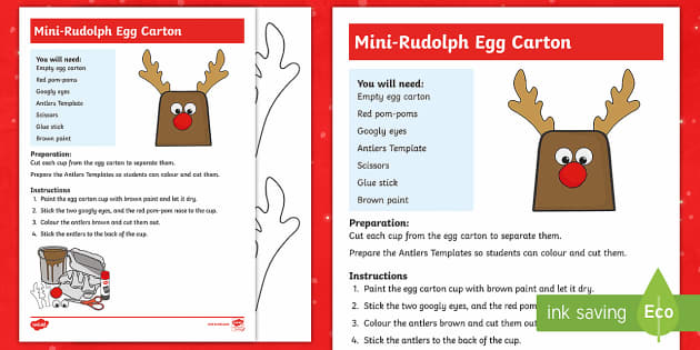 Mini-Rudolph Egg Carton Craft Instructions - Canada Christmas, christmas, reindeer, christmas craft, easy christmas craft, rudolph