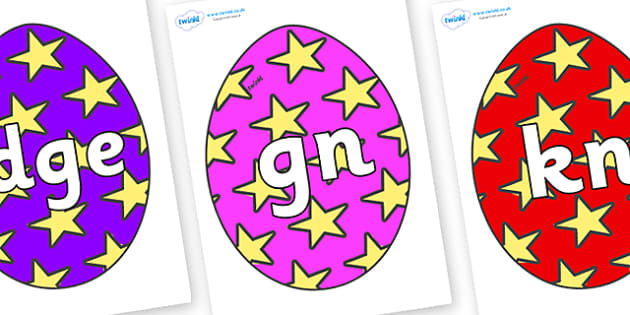 Silent Letters on Easter Eggs (Stars) - Silent Letters, silent letter, letter blend, consonant, consonants, digraph, trigraph, A-Z letters, literacy, alphabet, letters, alternative sounds