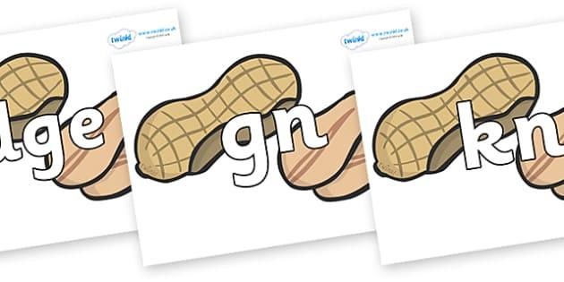Silent Letters on Peanuts - Silent Letters, silent letter, letter blend, consonant, consonants, digraph, trigraph, A-Z letters, literacy, alphabet, letters, alternative sounds