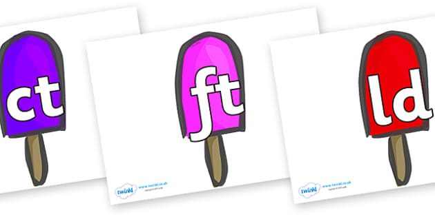 Final Letter Blends on Ice Lollies - Final Letters, final letter, letter blend, letter blends, consonant, consonants, digraph, trigraph, literacy, alphabet, letters, foundation stage literacy