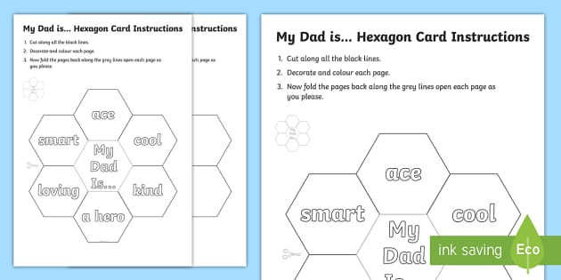 My Dad is Hexagon Card Template - my, dad, hexagon, card, cards