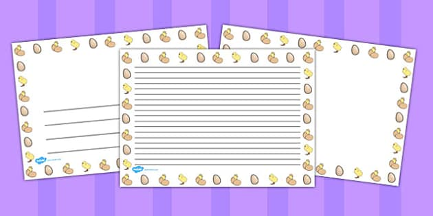 Chick and Eggs Landscape Page Borders - page borders, chick