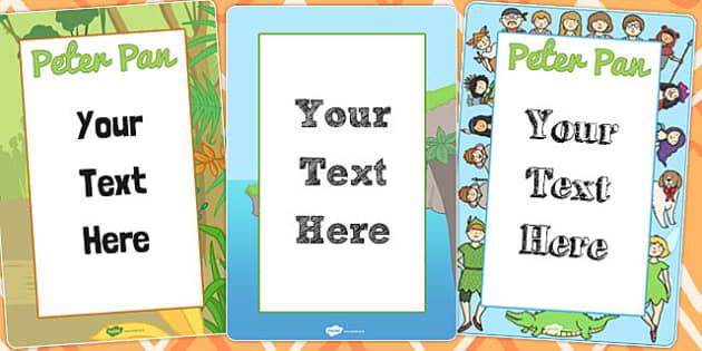 Peter Pan Editable Posters - poster, displays, display, edit