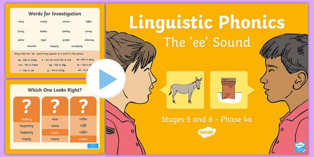 Northern Ireland Literacy Linguistic Phonics Stage 5 and 6 Phase 4a PowerPoint - Linguistic Phonics, Stage 5, Stage 6, Phase 4a, Northern Ireland, 'ee' sound, sound search, word
