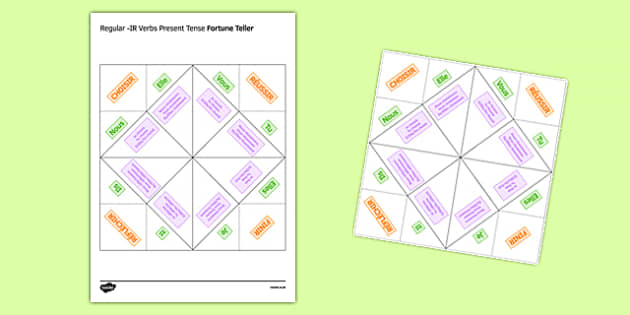 Regular IR Verbs Present Tense Fortune Teller - French