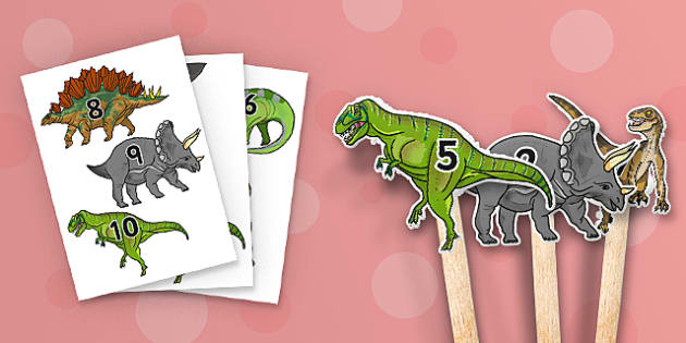 Realistic Dinosaurs Stick Puppet 1-10 - dinosaur, puppet, roleplay
