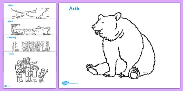 Bear Hunt Colouring Sheets (Welsh) - bear hunt, colouring, sheets,cymru