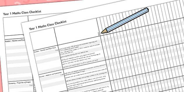 2014 Curriculum Year 1 Maths Assessment Class Checklist - numeracy
