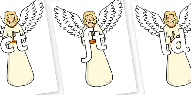 Final Letter Blends on Christmas Angels - Final Letters, final letter, letter blend, letter blends, consonant, consonants, digraph, trigraph, literacy, alphabet, letters, foundation stage literacy