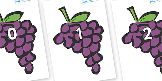 Numbers 0-100 on Grapes - 0-100, foundation stage numeracy, Number recognition, Number flashcards, counting, number frieze, Display numbers, number posters