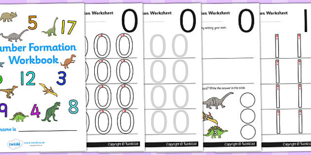 Dinosaur Themed 0 20 Number Formation Workbook - dinosaur, 0, 20, number, formation, number formation, dinosaur themed number formation, numeracy, maths