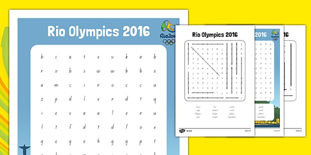 Rio Olympics 2016 Word Search - nz, new zealand, rio olympics, 2016 olympics, rio 2016, wordsearch, word search