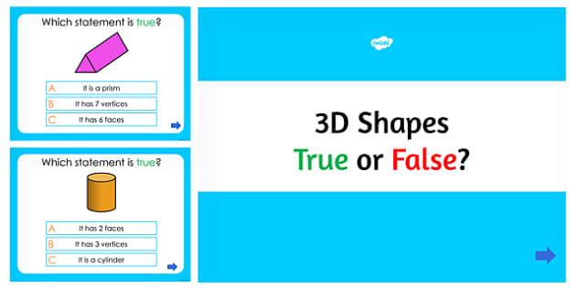 3D Shapes True or False PowerPoint Quiz - australia, 3d shapes