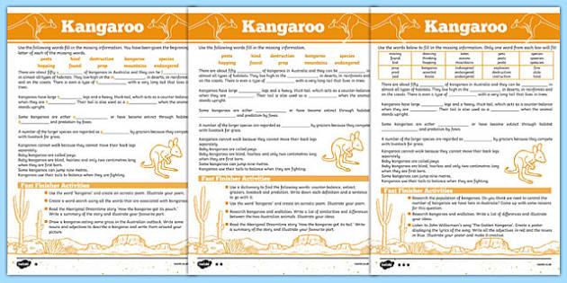 Australian Animals Years 3-6 Kangaroo Differentiated Cloze Passage Activity Sheet - australia, Australian Curriculum, animals, marsupials, kangaroo, differentiated, cloze, fast finisher, information, reading, worksheet