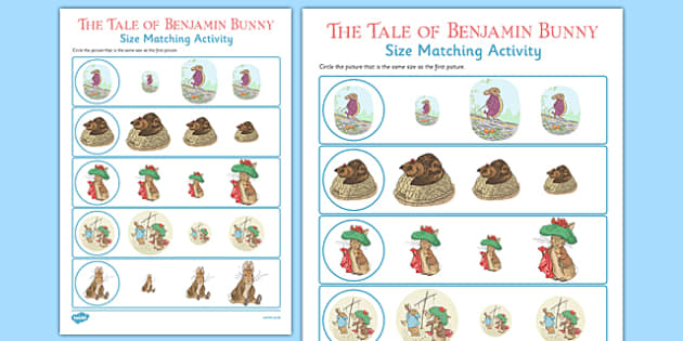 Beatrix Potter - The Tale of Benjamin Bunny Size Matching Work Sheets - beatrix potter, benjamin bunny