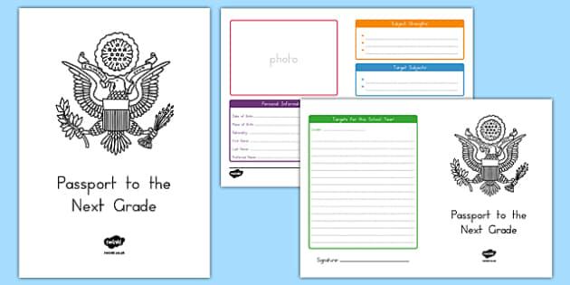 Passport to the Next Grade Activity Sheet, worksheet