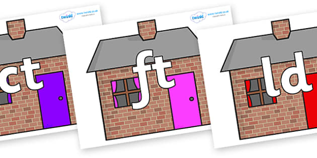 Final Letter Blends on Brick houses - Final Letters, final letter, letter blend, letter blends, consonant, consonants, digraph, trigraph, literacy, alphabet, letters, foundation stage literacy