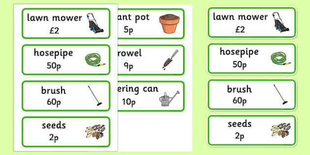 Garden Centre Labels - General Items for sale - lawnmower, watering can, hose, garden centre, plants, plant, topic, flower, price, price labels, for sale