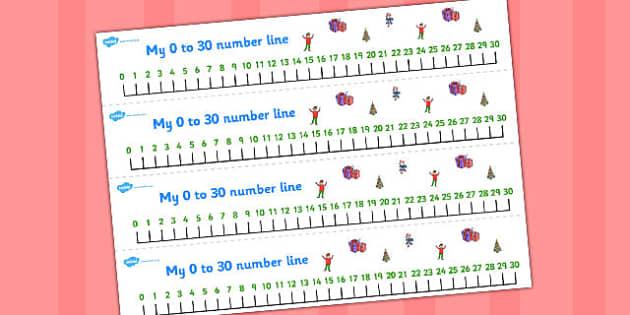 Elf Themed Number Lines 0-30 - number lines, elf, 0-30, number