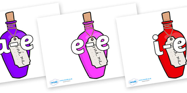 Split Digraphs on Drink Me Bottles - Modifying E, letters, modify, Phase 5, Phase five, alternative spellings for phonemes, DfES letters and Sounds