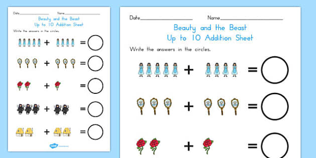 Beauty and the Beast Up to 10 Addition Sheet - australia, beauty