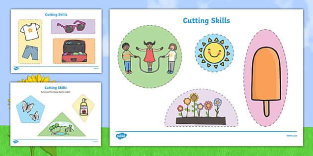 Summer Themed Cutting Skills Worksheets - cut, fine motor skills
