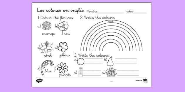Ficha de colores en inglés - colores, inglés