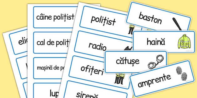 Politia, joc de rol, cartonase cu  imagini si cuvinte, Romanian