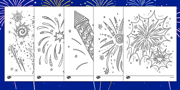 Adult Colouring Fireworks Themed Mindfulness Colouring Sheets - fireworks, mindfulness, adult colouring