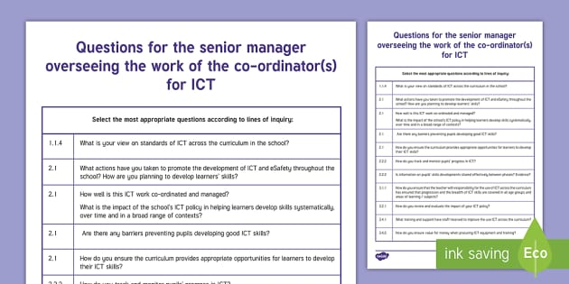 Questions for Senior Manager in ICT from  ESTYN A4 Display Poster - Digital Competence Framework, Wales, ICT, ICT in Foundation Phase, ICT in Key Stage 2, Digital Compe