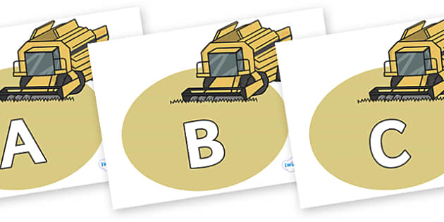 A-Z Alphabet on Combine Harvesters - A-Z, A4, display, Alphabet frieze, Display letters, Letter posters, A-Z letters, Alphabet flashcards