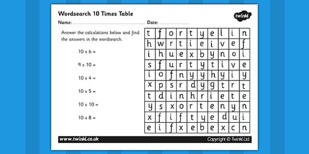 Multiplication 10 Times Tables Wordsearch Worksheet - multiplication wordsearch, times tables wordsearch, maths wordsearch, 10 times table wordsearch, sums