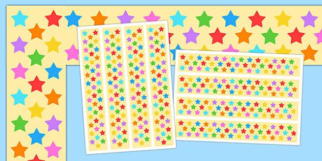 Multicoloured Stars A3 Display Borders - display borders, display