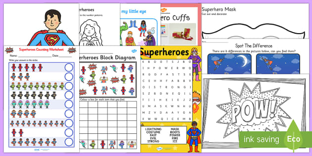 Top Ten Superheroes Activity Pack - hero, superhero, superman, comic, spider man, batman, characters