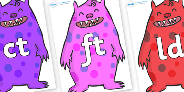 Final Letter Blends on Monsters - Final Letters, final letter, letter blend, letter blends, consonant, consonants, digraph, trigraph, literacy, alphabet, letters, foundation stage literacy