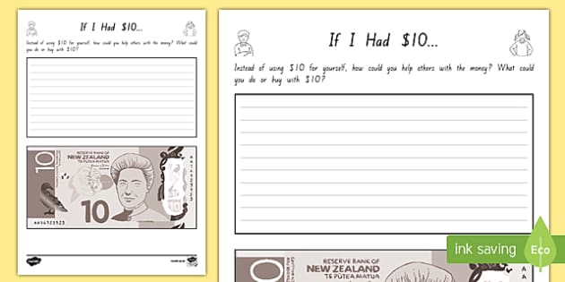 If I Had 10 Activity Sheet - nz, new zealand, if i had, money, dollars, activity, worksheet