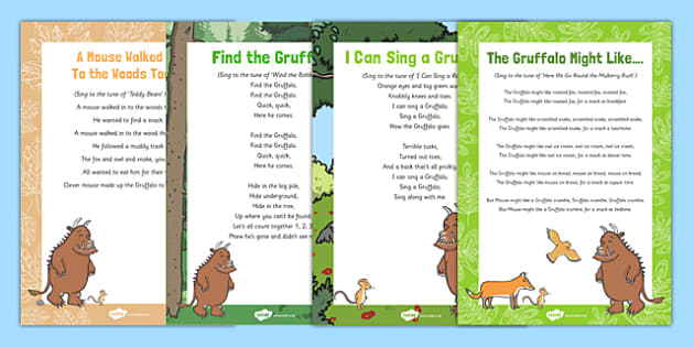 Songs and Rhymes Resource Pack to Support Teaching on The Gruffalo -Julia Donalson, Axel Scheffler, The Gruffalo, The Gruffalo's Child, songs, rhymes