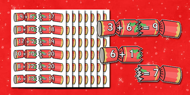 Christmas Cracker Addition Up To 20 Activity - christmas themed addition, christmas addition, christmas, addition up to twenty, addition activity