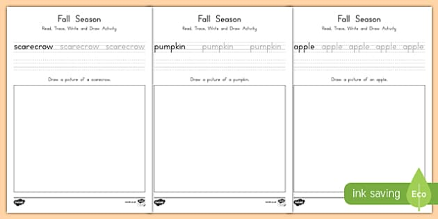 Fall Read, Trace, Write, and Draw Activity Sheets, worksheet