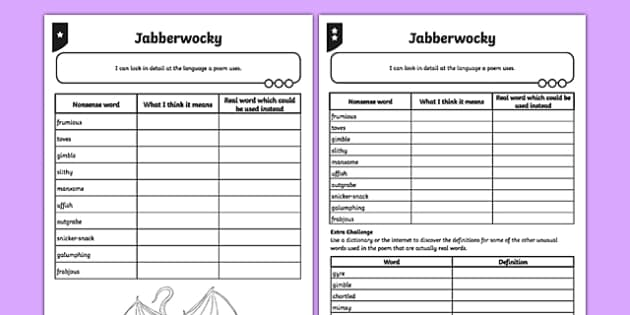 PlanIt Y5 Animals: Jabberwocky Activity Sheet, worksheet
