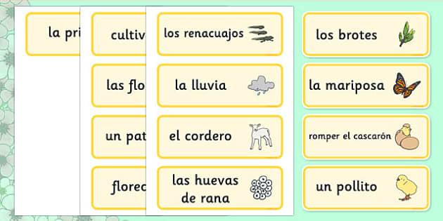 Tarjetas de vocabulario La Primavera - spring, word cards, primavera, vocabulario, estaciones