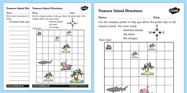 Treasure Island Directions Instruction Writing Worksheet - giving directions worksheet, compass points worksheet, direct the ship worksheet, compass point