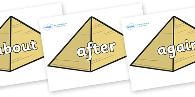 KS1 Keywords on Pyramids - KS1, CLL, Communication language and literacy, Display, Key words, high frequency words, foundation stage literacy, DfES Letters and Sounds, Letters and Sounds, spelling