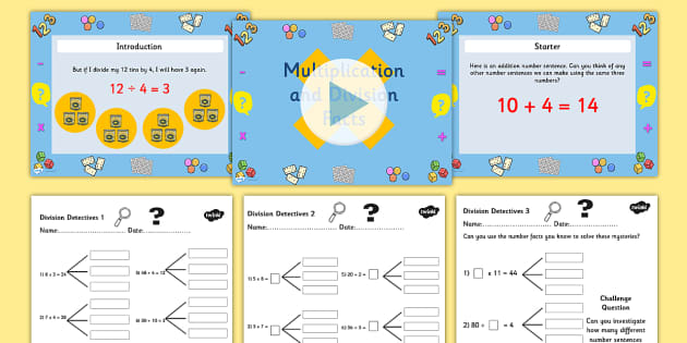 Year 3 Deriving Multiplication and Division Facts Task Setter Powerpoint with Worksheets - multiplication, division, numeracy, powerpoint, task setter