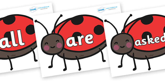 Tricky Words on Ladybirds - Tricky words, DfES Letters and Sounds, Letters and sounds, display, words