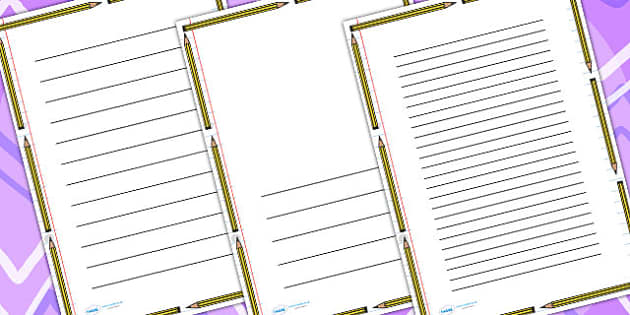 Pencil Page Border - writing frame, writing aid, writing template