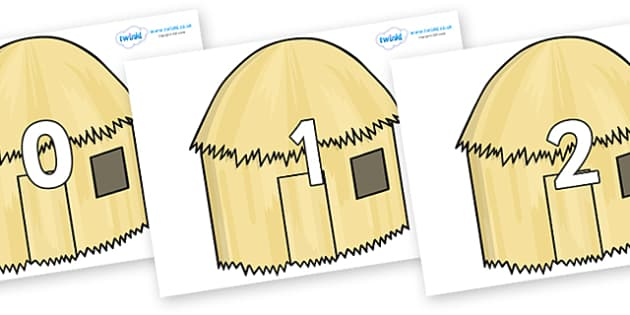 Numbers 0-100 on Straw houses - 0-100, foundation stage numeracy, Number recognition, Number flashcards, counting, number frieze, Display numbers, number posters