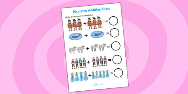 Pinocchio Addition Sheet - pinocchio, addition sheet, addition, worksheets, maths, numeracy, themed addition sheet, adding, plus, add, themed worksheet